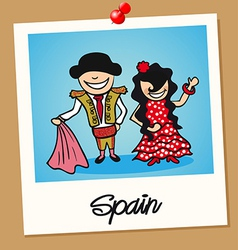 Spain travel polaroid people vector image vector image