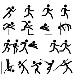 sport pictograph icon set 02 track and field vector image