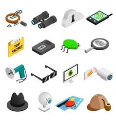 spy isometric 3d icons vector image
