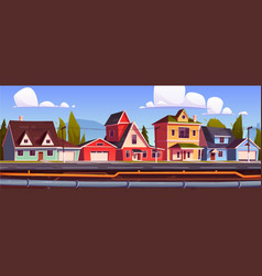 suburb houses and underground pipeline vector image