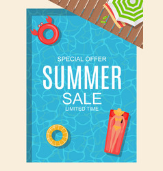 summer sale background poster with swimming pool vector image