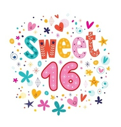 Sweet Sixteen text decorative retro typography vector