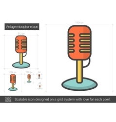 Vintage microphone line icon vector