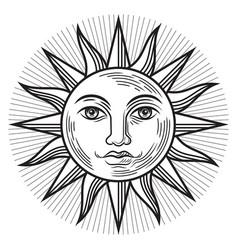 Vintage sun antique symbol vector