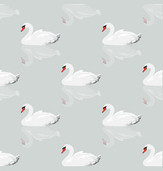 White swan seamless background vector