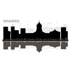 Winnipeg city skyline black and white silhouette vector