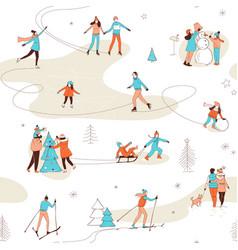 winter sport activities seamless pattern vector image