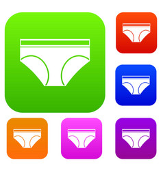 woman underwear panties set color collection vector image