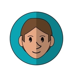 Young face guy brown hair smile blue background vector