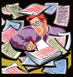 Young man as he writes on many sheets vector