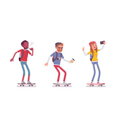Young sporty skaters vector