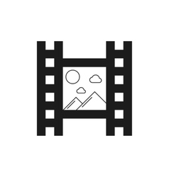 black film icon with mountains vector image