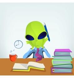 Cartoon Office Worker Alien vector image vector image