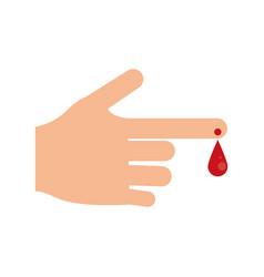 hand blood drop symbol vector image
