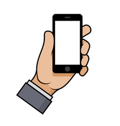 hand holding a smartphone on white background vector image vector image