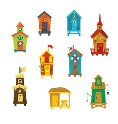 Little Beach Cabins Cute Set vector image vector image