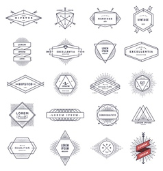 Set of hipster line emblems and signs vector image