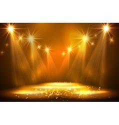 Spotlights on stage with smoke light vector image vector image