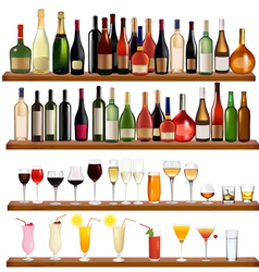 drinks and bottles vector image vector image