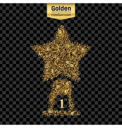 Gold glitter icon of statuette isolated on vector image