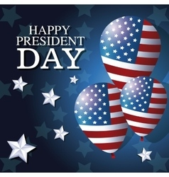 happy president day balloons flag star background vector image