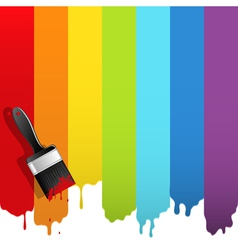 brush with rainbow paint vector image vector image