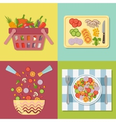 Cooking salad Healthy fresh colorful vegetables in vector image