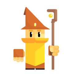 cute cartoon gnome in a brown hat with a staff in vector image vector image