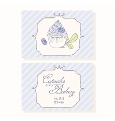 Hand drawn blueberry cupcake business cards vector