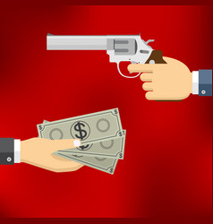 hand holding pistol and hand giving money vector image vector image