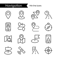 Navigation thin line icon set vector image vector image