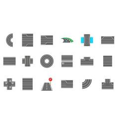 roads icon set cartoon style vector image