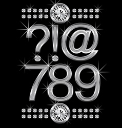 thin metal diamond letters and numbers big and sma vector image vector image