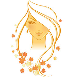 women autumn face vector image vector image
