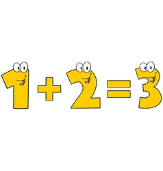 Yellow Number 1 Plus Number 2 vector image vector image