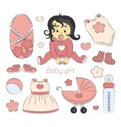 Baby girl design elements vector image