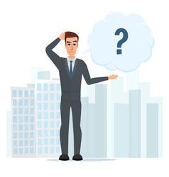 Cartoon with bar question mark business cartoon vector