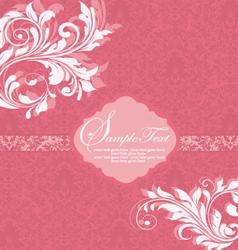 Damask invitation vintage card with floral element vector image