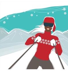 Glamour girl skiing winter season sports vector image