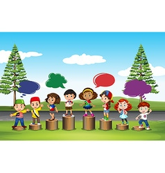 Many children standing on logs vector image vector image