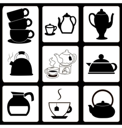 Teapots and cups set vector image