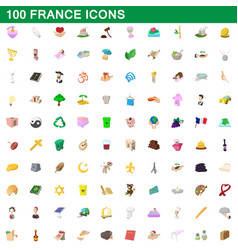 100 france icons set cartoon style vector image