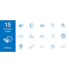 15 africa icons vector
