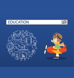 A boy ridind airplane with education search vector