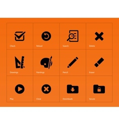 Application interface icons on orange background vector image