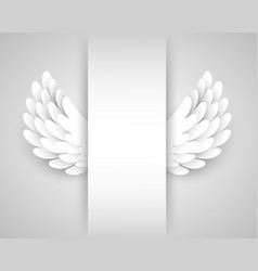 Artificial white paper wings background vector