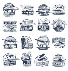 Aviation icons vintage and modern planes vector