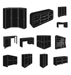 Bedroom furniture black icons in set collection vector
