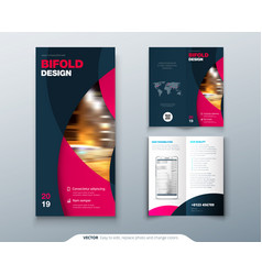 Bi fold brochure or flyer design with circle vector