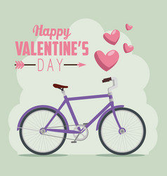 Bicycle transport to valentine day celebration vector
